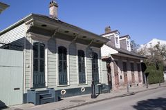 One floor house in French Quarter New Orleans. House in French Quarter New Orleans Louisiana USA royalty free stock image