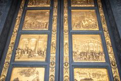 Gates to the Baptistery of Saint John on Piazza del Duomo, Flore. One of Florence`s oldest buildings and predates Santa Maria del Fiore cathedral. Gates of Royalty Free Stock Images
