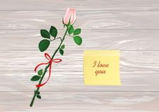 One flower with red bow and Yellow sheet of paper for notes. Sti. Cker.  Rose. Greeting card for Valentine`s Day wedding and birthday. Empty space for your text Royalty Free Stock Image