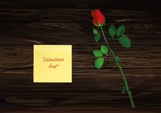 One flower with red bow and Yellow sheet of paper for notes. Sti. Cker.  Rose. Greeting card for Valentine`s Day wedding and birthday. Empty space for your text Royalty Free Stock Photos