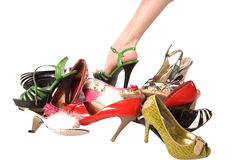 One foot and shoes Royalty Free Stock Images
