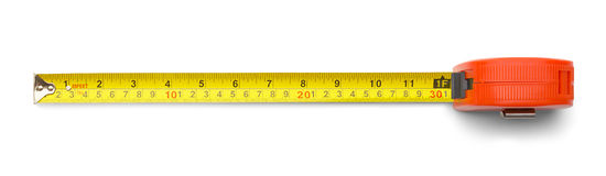 One Foot Tape Measure. Carpenters Metal Tape Measure Isolated on a White Background Royalty Free Stock Photography