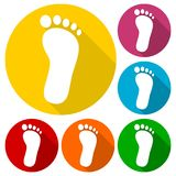One footprint icons set with long shadow. Vector icon Stock Photos