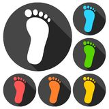 One footprint icons set with long shadow. Vector icon Royalty Free Stock Photo