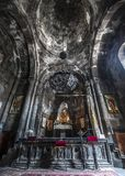 One of the forty altars of the monastery of Geghard. Armenia, the monastery complex of Geghard is called `the monastery of seven churches and forty altars` Stock Photography