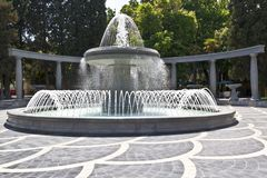 One of the fountains in the central part of Baku stock photography
