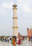 One of the four minarets of Taj Mahal. Standing tall of height about 130 feet and made out of white marble like the main structure of Taj Mahal, India stock photo