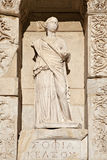 One of four virtue statue in Census library. The library of Celsus is an ancient building in Ephesus, Izmir, Turkey Stock Image