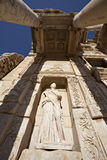 One of four virtue statue in Census library. The library of Celsus is an ancient building in Ephesus, Izmir, Turkey Stock Images