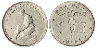 One Franc Coin Isolated Royalty Free Stock Photography
