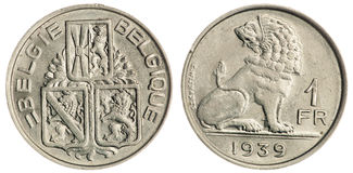 One Franc Coin Isolated Stock Images