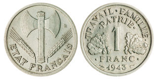 One Franc Coin Isolated Stock Photography