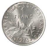 One French franc. Isolated on white background royalty free stock photo