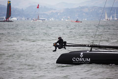 One French Team Corum member, makes adjustments during Louis Vuitton Cup race in Americas Cup Series in San Francisco, California Stock Photos