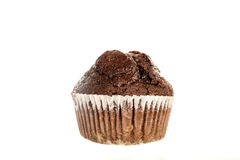 One Fresh Baked Chocolate American Muffin. Sweet Food or Dessert. Double Chocolate Chip Muffin Isolated on White Background in American Style. Irresistible Royalty Free Stock Photos