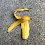 One fresh banana peel Royalty Free Stock Photography