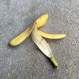 One fresh banana peel Royalty Free Stock Photos