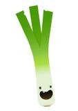 One fresh green leek character leaf on white background Stock Photo