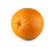 One fresh orange citrus fruit closeup isolated on white background Royalty Free Stock Photos