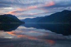 Sunrise over Teletskoe lake stock photography