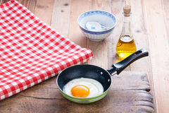 One fried egg in a pan Royalty Free Stock Photo