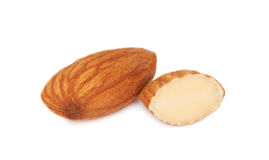 One full and half almonds () Stock Image