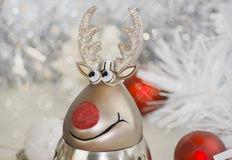 One funny Christmas  reindeer. Christmas card design Royalty Free Stock Photos