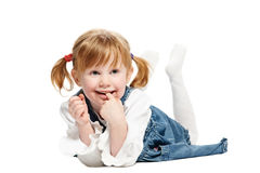 One funny playful little girl on Royalty Free Stock Image