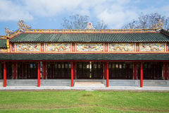 One of galleries of the imperial palace of the Forbidden Purple city. Hue, Vietnam Stock Image