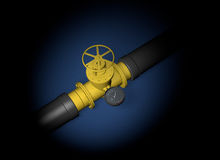 One gas crisis. Natural gas. blue fuel. black pipe Stock Image