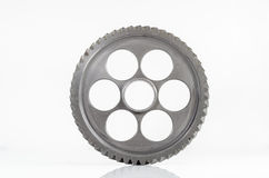 One gear spiral teeth on isolated. Background Royalty Free Stock Image