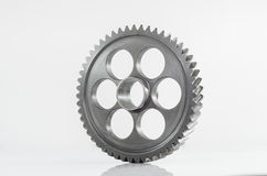 One gear spiral teeth on isolated. Background Royalty Free Stock Photo