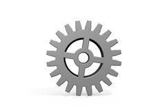 One Gear on White Stock Photo