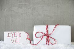 One Gift, Urban Cement Background, Joyeux Noel Means Merry Christmas Stock Image