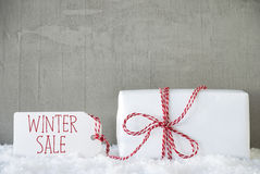 One Gift, Urban Cement Background, Text Winter Sale Royalty Free Stock Images
