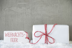 One Gift, Urban Cement Background, Weihnachtsfeier Means Christmas Party Royalty Free Stock Image