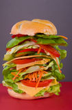 One gigantic healthy snack. Huge sandwich with different vegetables such as tomatoes, lettuce, cucumbers, carrots and cheese Stock Photos