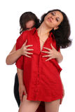 One girl embrace other one from behind Royalty Free Stock Photo