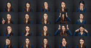 One girl - many faces. Young beautiful girl stock photos