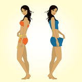 One girl measuring herself measuring tape, the other girl bulge. Shorts that became big Royalty Free Stock Images