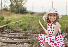One girl on railroad Royalty Free Stock Photography