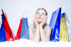 One girl at shopping Stock Photography