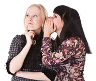 One girl whispers to other girl Royalty Free Stock Photos