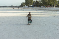One girl on Zanzibar beach stock image