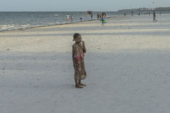 One girl on Zanzibar beach royalty free stock photos