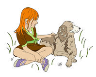 One girls and a dog. A girl plays with her dog Vector Illustration
