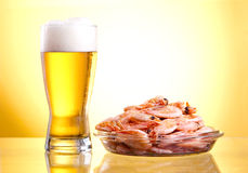 One glass of beer and cooked shrimp Royalty Free Stock Photography