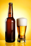 One glass and Bottle of fresh light beer Royalty Free Stock Photo