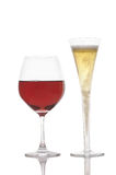 One Glass Champagne and Red Wine Stock Image