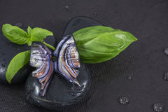 One glass jewelry as butterfly on the white stone with basil Stock Images